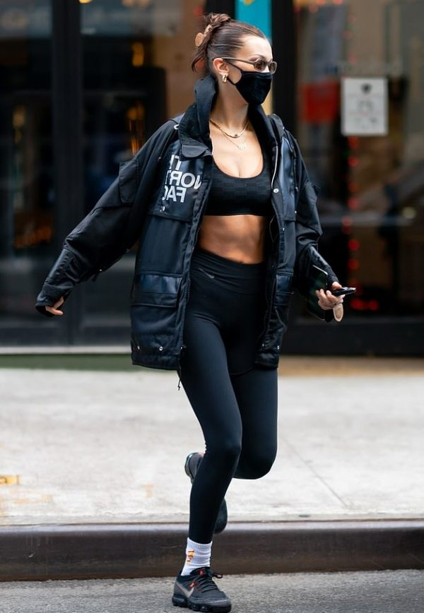 Bella Hadid Shows off Her Toned Tummy Black Cotton Jacket2