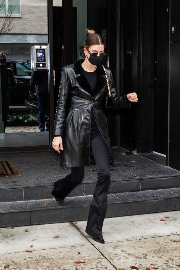 Hailey Bieber Real Leather Coat