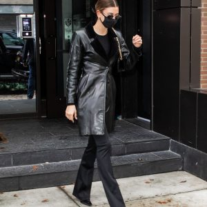 Hailey Bieber Leaves Her Real Leather Coat