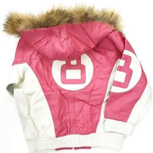 8 Ball Shearling Pink Leather Hooded Jacket